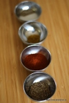 Spices in little silver bowls
