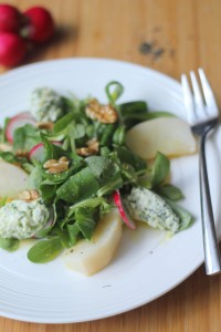 Pear and Whipped Goats Cheese salad