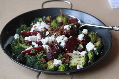 Dish of Beetroot Broccoli Salad