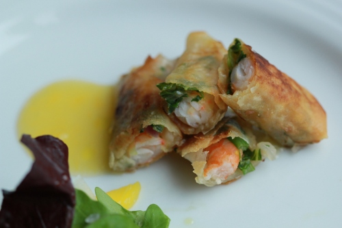 Prawn Spring rolls and Mango
