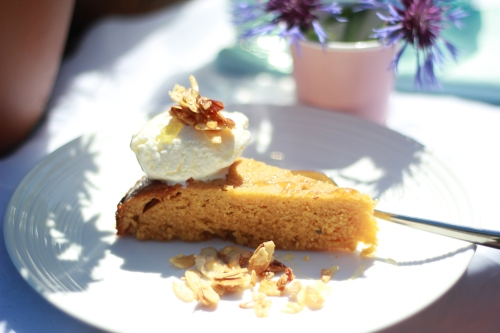 Polenta Cake with Greek Yoghurt Ice Cream