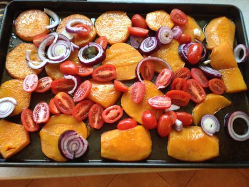 butter nut squash and tomato gratin