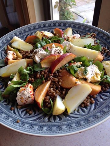 lentil goats cheese peach salad