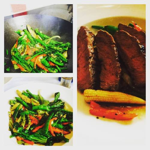 chargrilled flatiron and asian greens