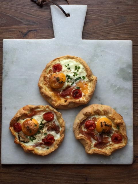 egg and ham galettes